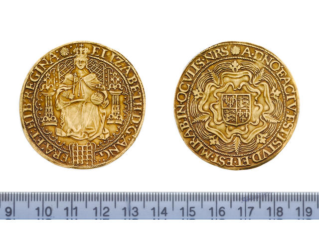 Elizabeth I, fifth issue (1583-1600), Sovereign, 15.2g, queen enthroned holding orb and sceptre, por