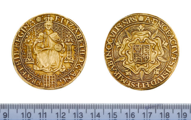 Elizabeth I, fifth issue (1583-1600), Sovereign, 15.2g, queen enthroned holding orb and sceptre, portcullis at feet, tressure unbroken by throne decorated with pellets, ELIZABETH D G ANG FRA ET HIB REGINA,