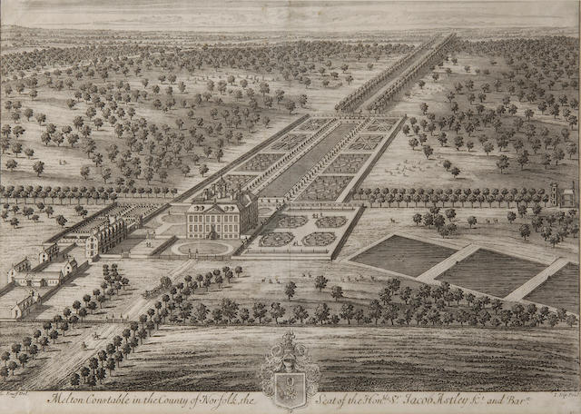 Johannes Kip  (1653-1722) after Leonard Knyff Melton Constable in the county of Norfolk image 32 x 47cm (12½ x18½in), together with 5 other maps and prints of Norfolk and Norwich.(6)