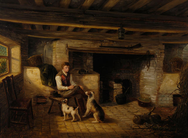 Thomas Smythe (1825-1906) Boy with dogs and a cat beside the hearth 79 x 106.5cm (31 x 42in).