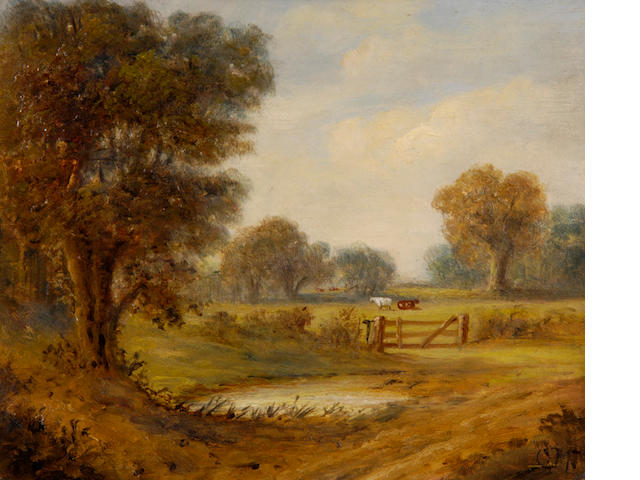 Christopher Mark Maskell (1846-1933) Pastoral landscape 24.5 x 29.5cm (9½ x 11½in).