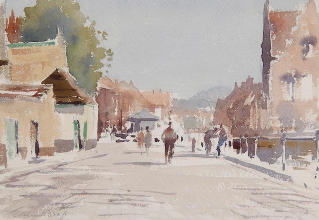 Edward Brian Seago, R.B.A., R.W.S. (1910-1974) Figures in a village street 18 x 26.5cm (7 x 10 1/2in).