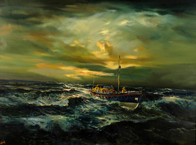 Jack Cox (Contemporary) The old Wells lifeboat at sea 76.5 x 102cm (30 x 40in).
