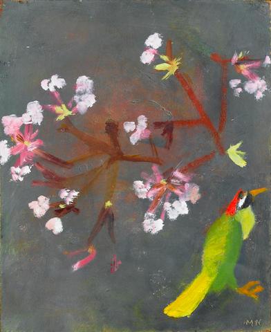 Mary Newcomb (b.1922) 'Green woodpecker and vibernum in November'