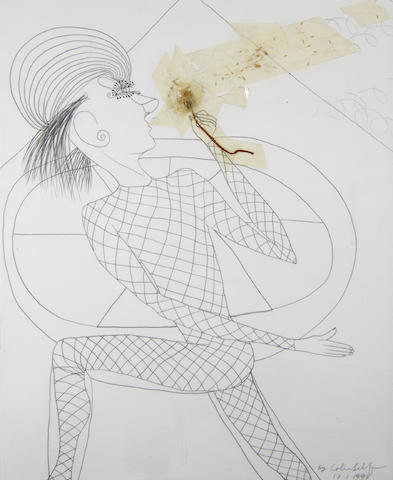Colin Self (b. 1941) Pierrot blowing dandelion clock
