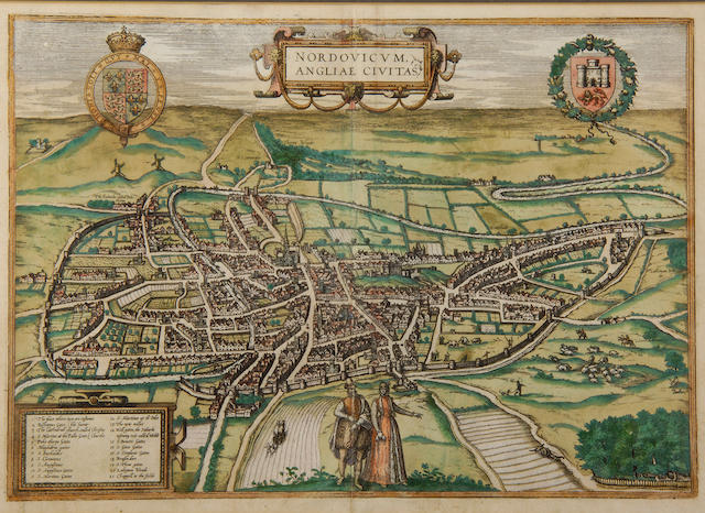Georg Braun (1541-1590) & Frans Hogenberg (1535-1590) Nordovicum Angliae Civitas, a bird's eye view of Norwich, published in Latin 1581-1616 29 x 42cm (11 1/2/ x 16 1/2in).