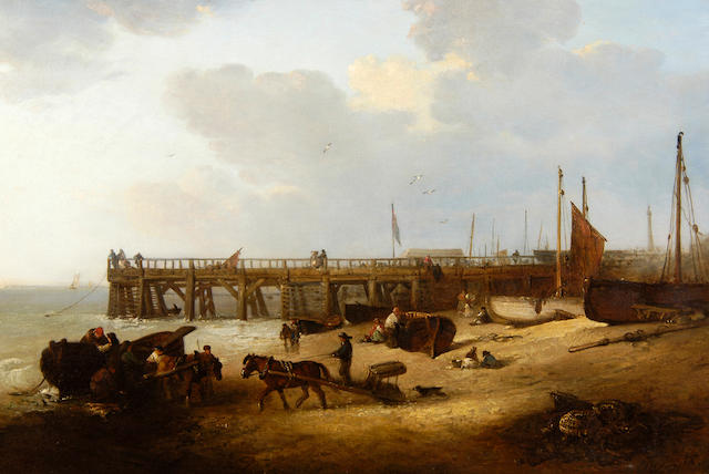 Edward Robert Smythe (1810-1899) Figures on the beach before Yarmouth Jetty 51 x 76cm (20 x 30in).