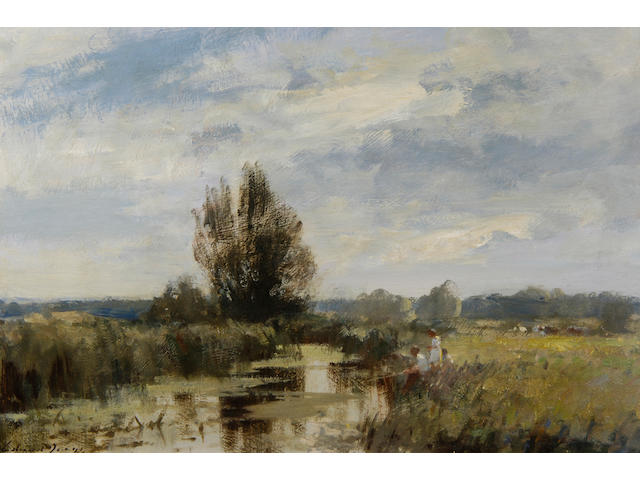Edward Brian Seago R.B.A., R.W.S. (1910-1974) By the Upper Yare 39cm x 60cm (15 1/2ins x 23 1/2in).