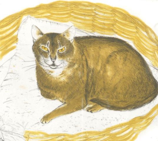 Elizabeth Blackadder (born 1931) Study of a cat in a basket,