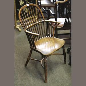 A 19th century ash, elm and yew Windsor chair