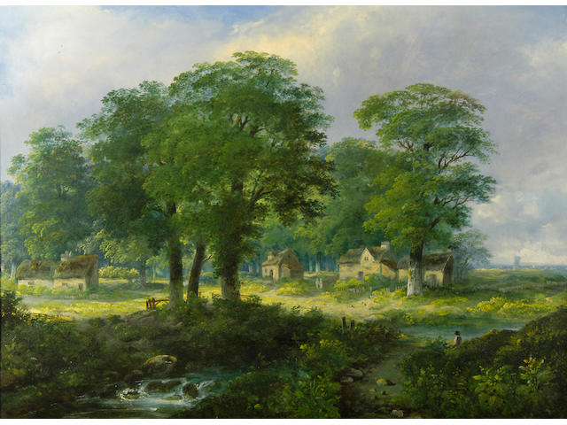 Attributed to Edward Littlewood 19th/20th Century Cottages by a wood. 69 x 94cm (27 x 37in)