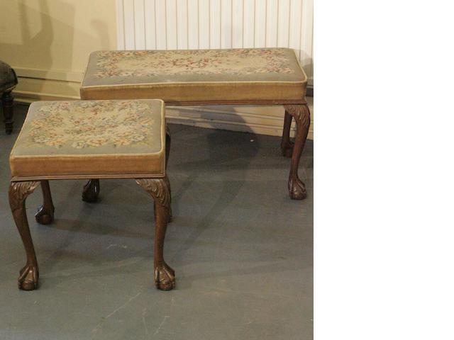 Two George II style walnut stools