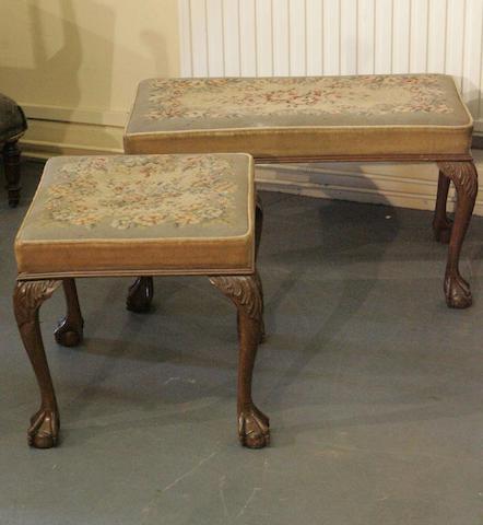 Two George II style walnut stools