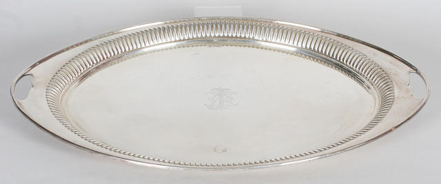 An oval twin handled tray By Atkin Brothers, Sheffield, 1910,