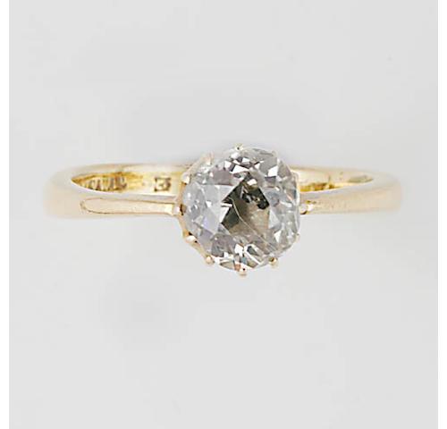 A 22ct gold single stone diamond ring,