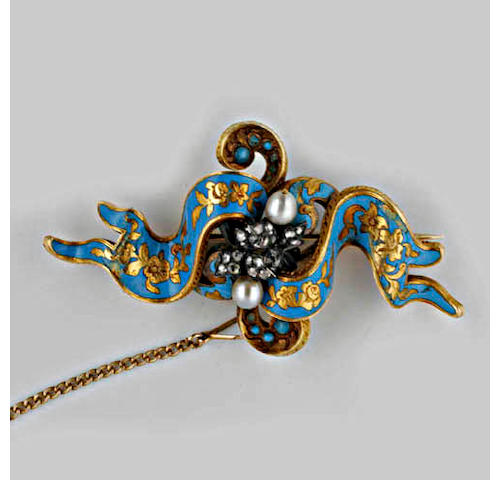 A Victorian enamel diamond and cultured pearl brooch,