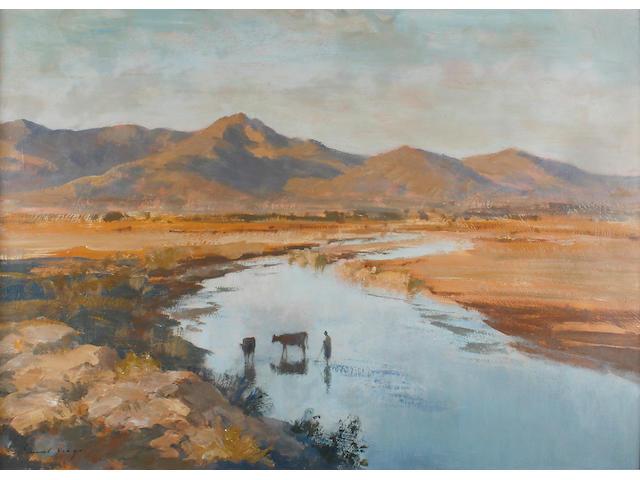 Edward Brian Seago, R.B.A., R.W.S. (1910-1974) Landscape near Oued Zat, Morocco 66 x 91.5cm (26 x 36in).