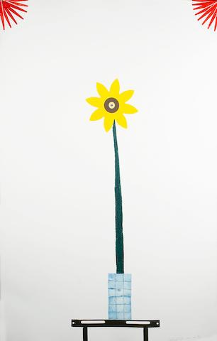 Colin Self (b.1941) A child's flower in Mondrian colours 110 x 71cm (43 1/2 x 28in).