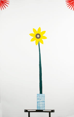 Colin Self (b.1941) A child's flower in Mondrian colours 110 x 71cm (43 1/2 x 28in).