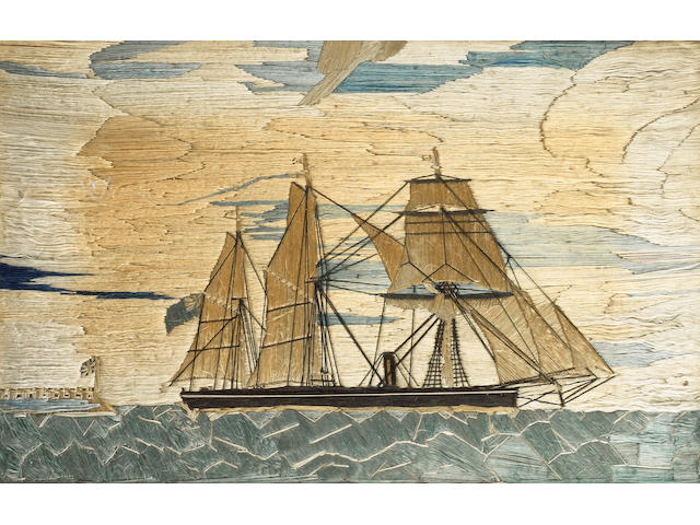 A 19th Century silk work long stitch picture of an auxiliary steamship off a fort, 52 x 36cm.