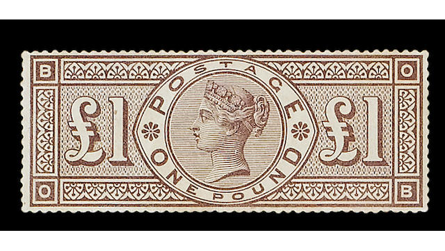 "1884 wmk. Crowns: £1 brown-lilac OB mint, imperfections otherwise fine and rare, R.P.S. Certificate (2006) states ""slightly toned""."