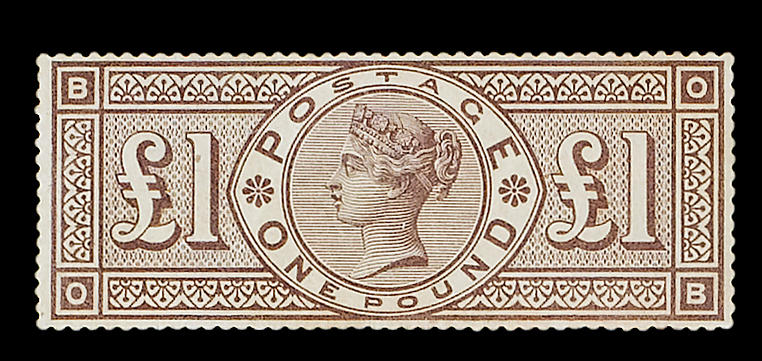 """1884 wmk. Crowns: £1 brown-lilac OB mint, imperfections otherwise fine and rare, R.P.S. Certificate (2006) states """"slightly toned""""."""