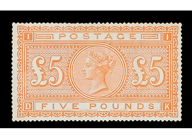 1882-83 wmk. Anchor on white paper: £5 orange DK unused (regummed), small surface rubbing and toned, R.P.S. Certificate (2005).