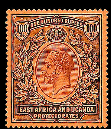 Kenya, Uganda & Tanganyika: 1912-21 100r. fine and fresh mint, very scarce. SG 62, £5,000. (414)