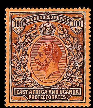 Kenya, Uganda & Tanganyika: 1912-21 100r. fine and fresh mint, very scarce. SG 62, £5,000. (414)
