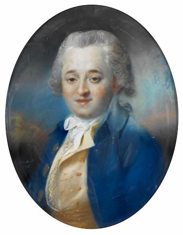 John Russell (British, 1745-1806) Portrait of a gentleman in a blue coat 57.5 x 44 cm. (22 3/4 x 17 1/4 in.)