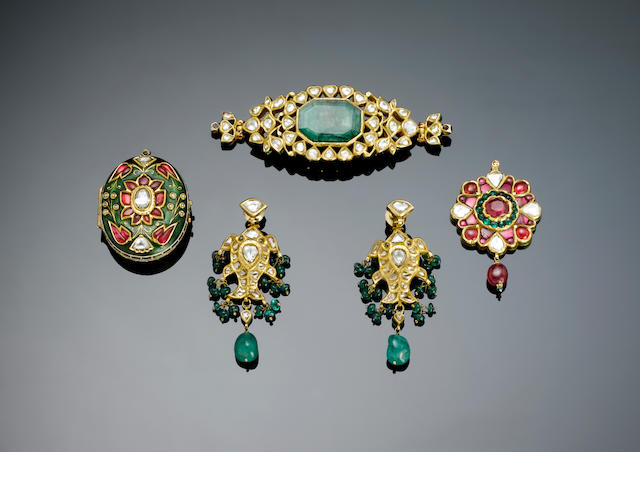 An Indian diamond, ruby-set and enamelled gold Pendant Locket