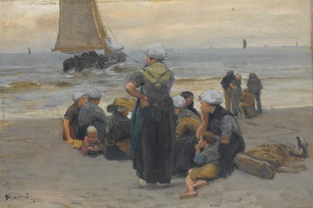Bernardus Johannes Blommers (Dutch 1845-1914) Waiting for the catch 20.5 x 30 cm. (8 x 11 3/4 in.)