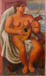 Mark Gertler (1892-1939) Classical nude playing a mandolin 137.7 x 84 cm. (54 1/4 x 33 in.) unframed