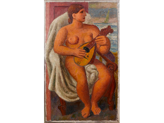 Mark Gertler (1891-1939) Musical Bather 137.7 x 84 cm. (54 1/4 x 33 in.) (unframed)