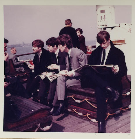 Unpublished photographs of the Beatles, taken during filming for the BBC TV documentary, 'The Mersey