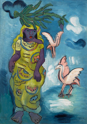 Alexis Preller (South African, 1911-1975 African Lady with Flamingos 50.8 x 38.1 cm. (21 x 15 in.)