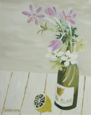 Mary Fedden, O.B.E., R.A. (b.1915) Flowers in a wine bottle with a lemon, 51 x 41cm (20 x 16in)