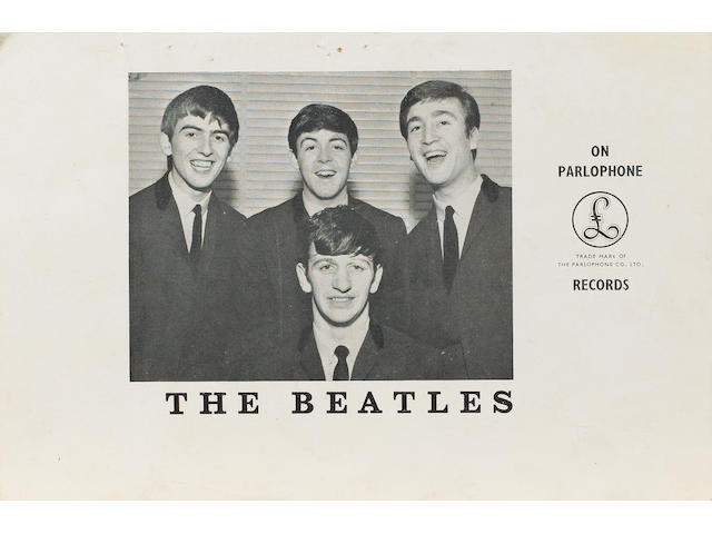 A signed Beatles Parlophone promotional card, 1963,