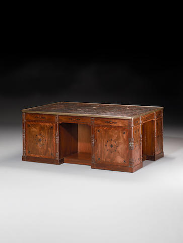 An important Regency mahogany, crossbanded and ebony marquetry four-sided Partners Desk