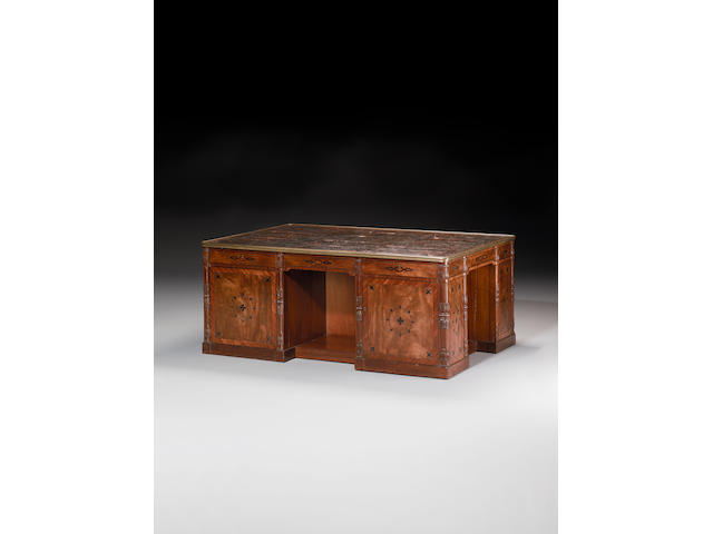 An important Regency mahogany, crossbanded and ebony marquetry four-sided Partners Desk possibly attributable to Marsh and Tatham, in the French manner,