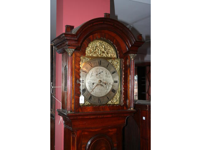 A late 18th Century oak painted dial longcase clock