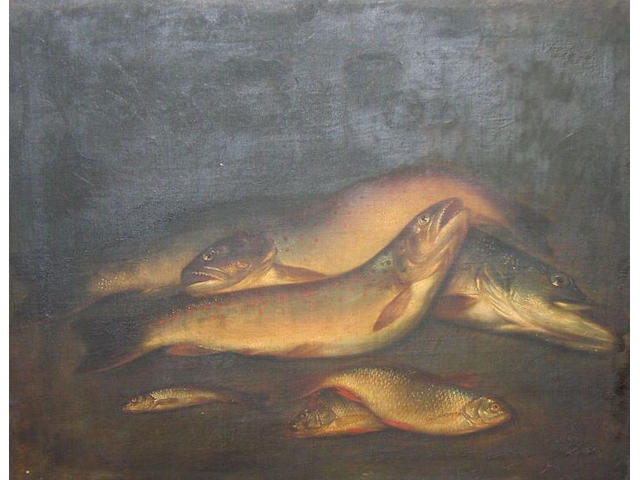 Still life of game and coarse fish on a river bank