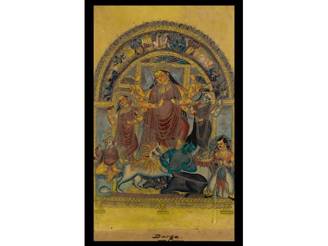Durga annihilating the demon Mahisha Kalighat, circa 1860