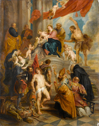 Circle of Balthasar Beschey (Antwerp 1708-1776) The Madonna and Child attended by Saints 80 x 63.2 c