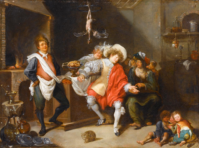 Simon de Vos (Antwerp 1603-1676) A tavern interior with a fortune-teller 47.2 x 63.5 cm. (18 5/8 x 25 in.)