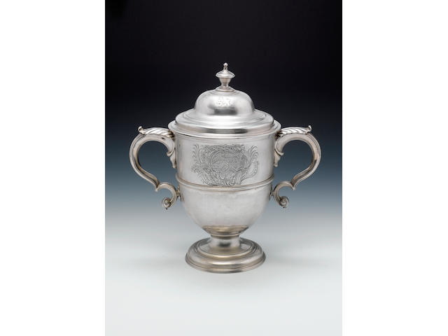 A George I Irish silver two-handled cup and cover, maker's mark only to body and cover, that of John Hamilton, Dublin circa 1720,