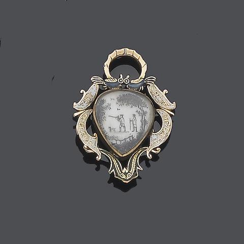 A mid 17th century painted enamel memorial pendant