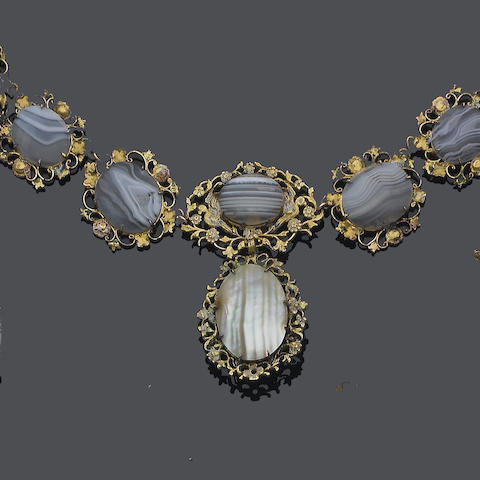 An 18th century agate and mother-of-pearl necklace, possibly Scottish,