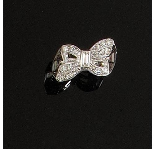 A diamond bow ring,