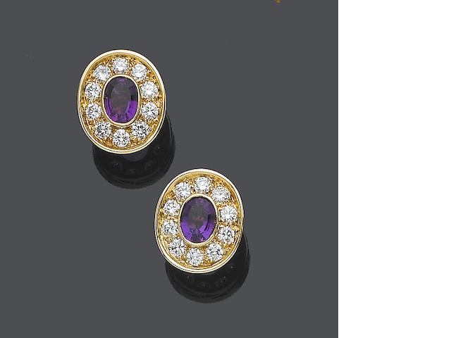 A pair of amethyst and diamond earstuds, by Boodle & Dunthorne